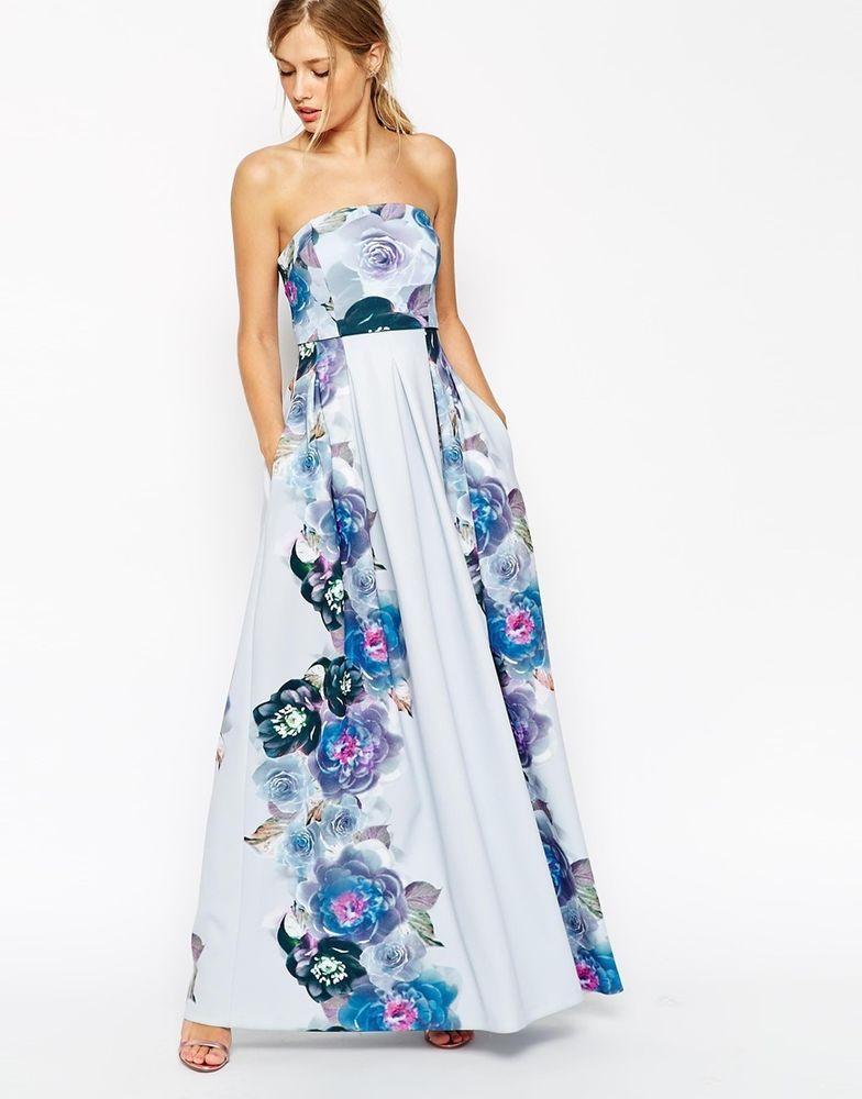 ASOS Crop Top Placed Floral Light Scuba Maxi Dress UK 8/EU 36/US 4