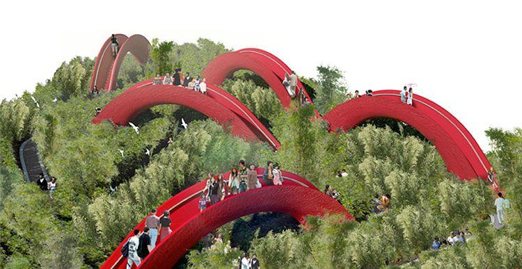 West 8 Creates A Maze Like Garden Of Bridges In China