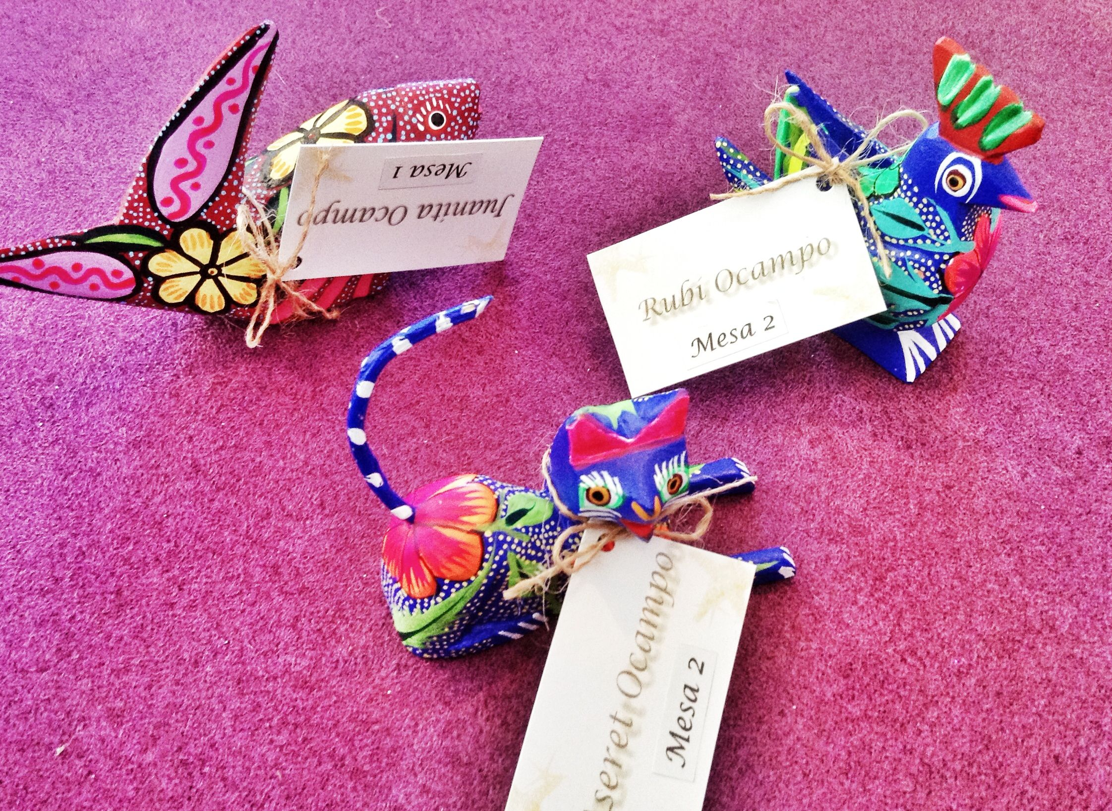Hermosos Mini Alebrijes para regalar en tu boda como un detalle muy fino y original mexicano. / original y beautiful mexican wedding favor for your guests