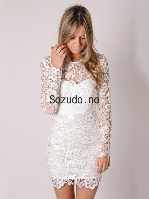 2014 Kne-lengde Korte Blonde Hvit Selskapskjoler