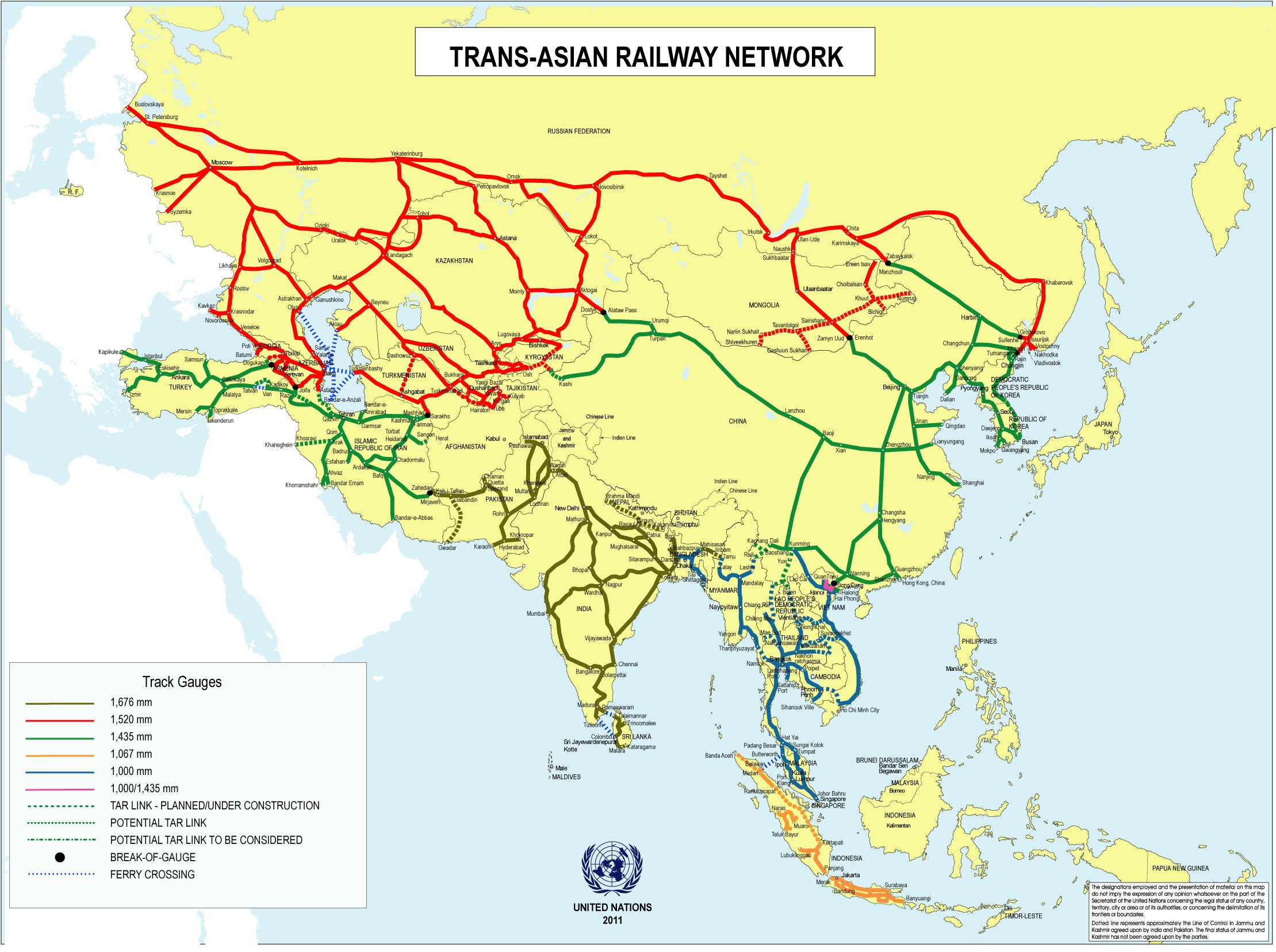 Map Of Asia Railways.Trans Asian Railway Network Asia Travel Resources In
