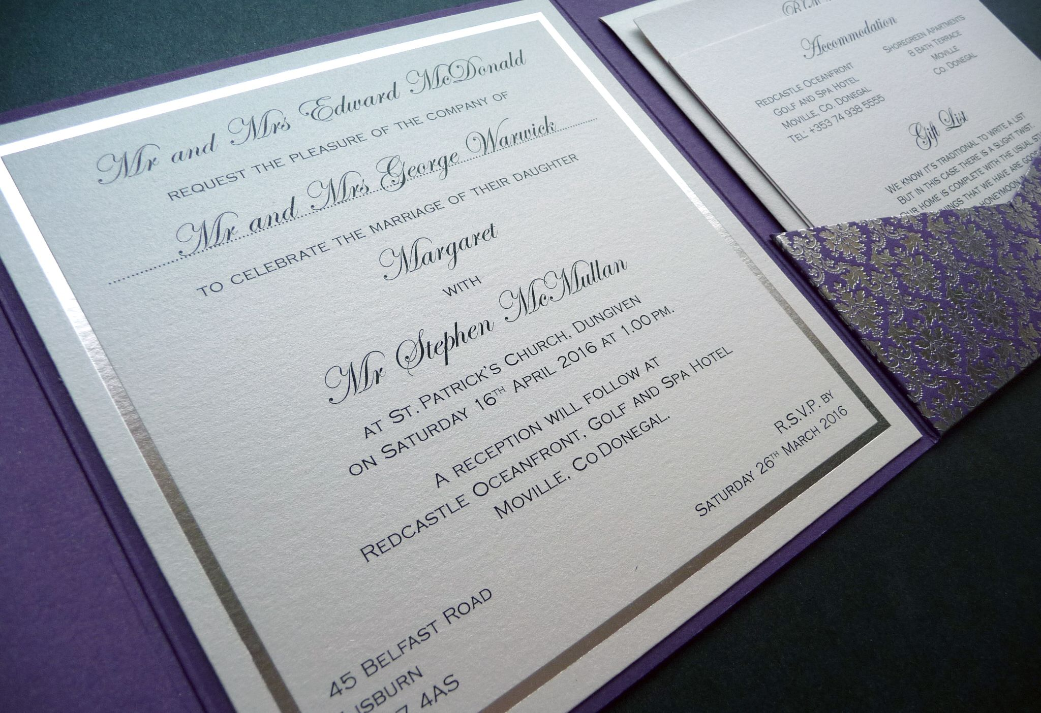 Purple and silver foiled pattern pocketfold invitations with a ...