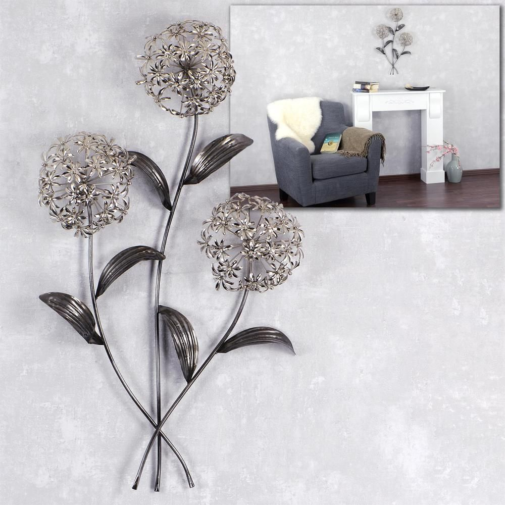 exklusive wand deko pusteblume 71cm silber metall wandbild