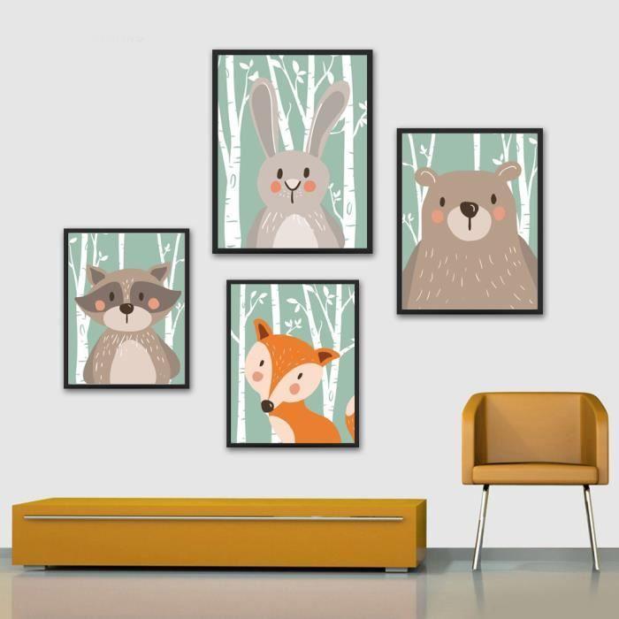 Animal de bande dessinée Lapin Ours Renard Minimaliste Art Toile