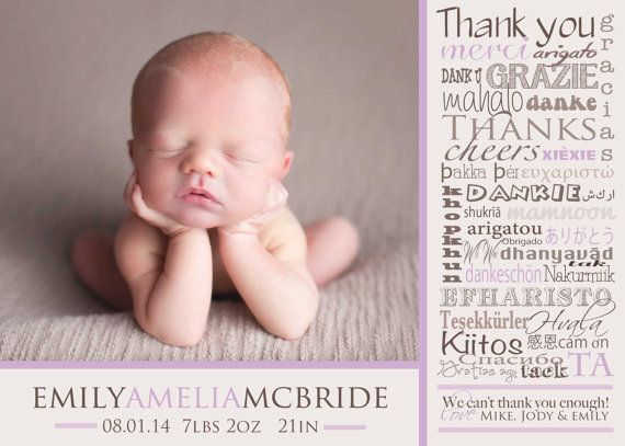 Thank you card BIRTH ANNOUNCEMENT LANGUAGES Baby by babybaloo ...