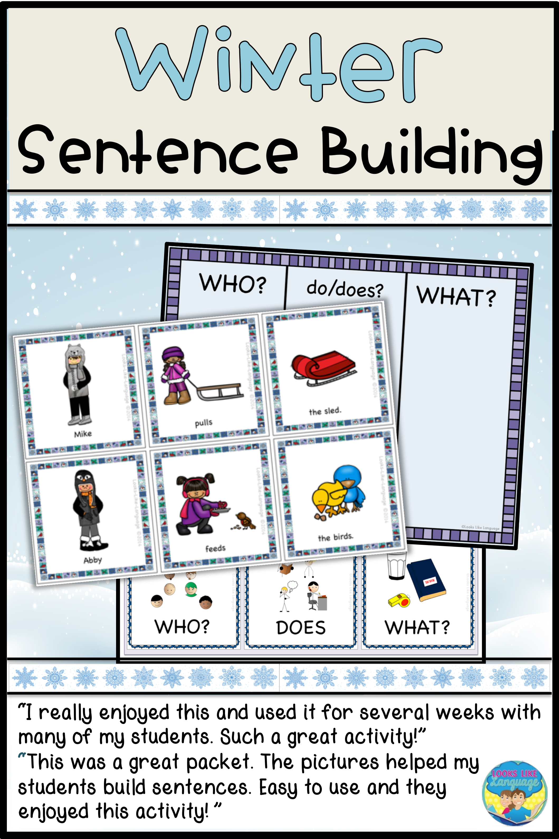 Sentence Building Picture Activities