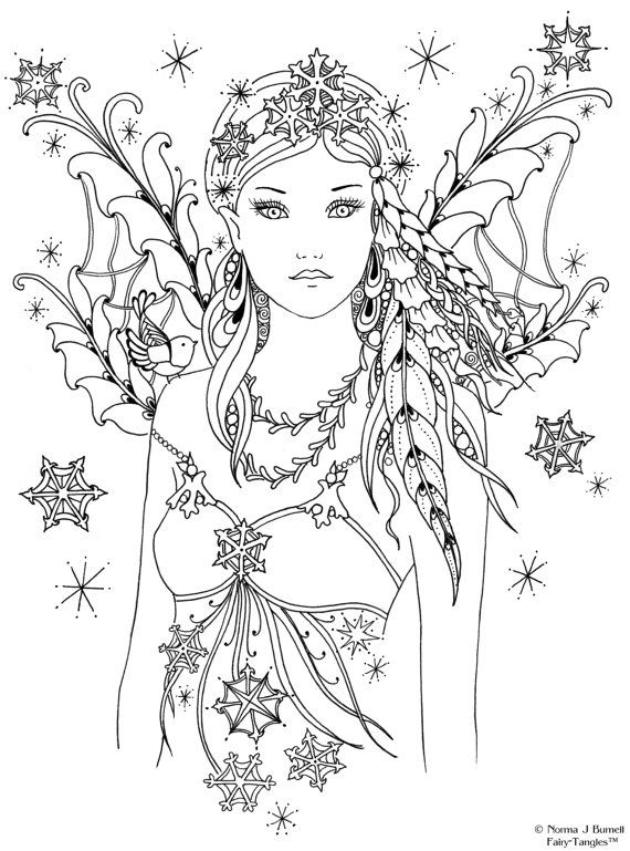 Snowbird Fairy Tangles Printable Digi Stamps Fairies Zentangle