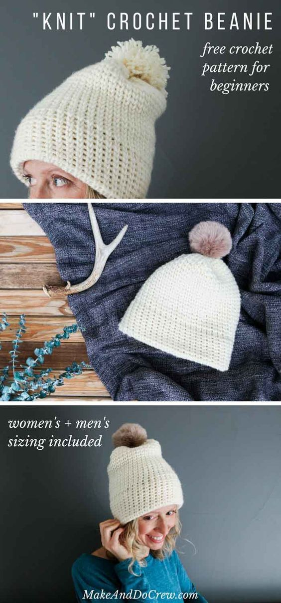 This Double Brimmed Crochet Beanie Looks Knit But Its Not This
