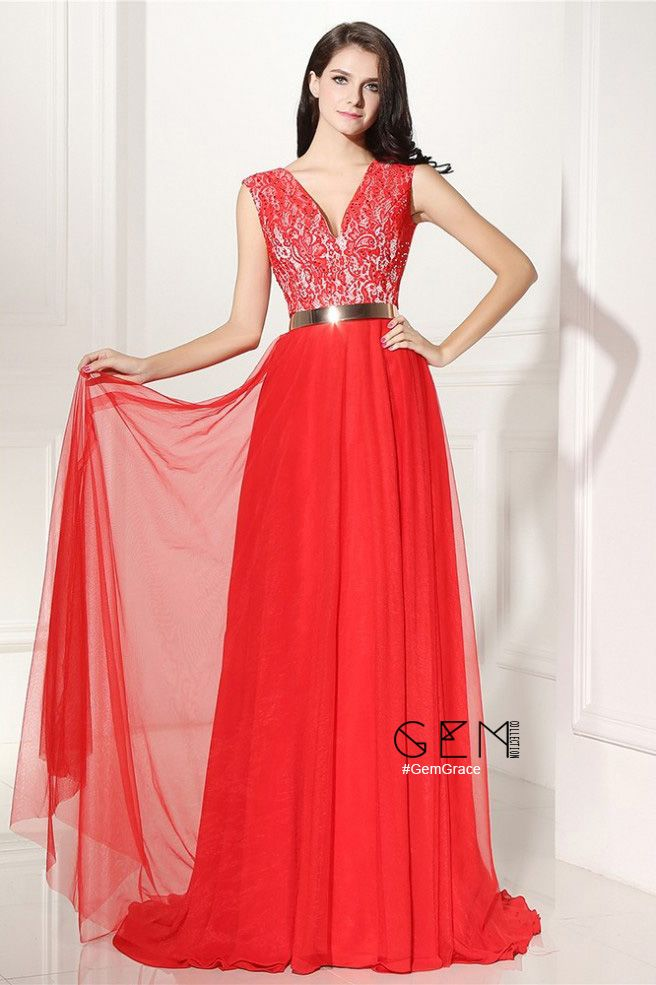 V-neck Lace and Tulle Long Formal Prom Dress with Belt #LG0307 ...