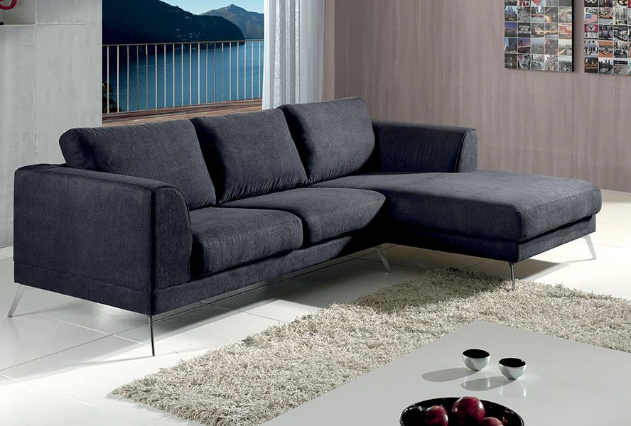 Canapé d\'angle AXIT. Tissu 100% polyester. Coloris : Lugano gris ...