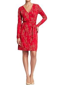 efdcc2ba7d6 OLD NAVY Women s Long-Sleeved Wrap Dresses in Red Print
