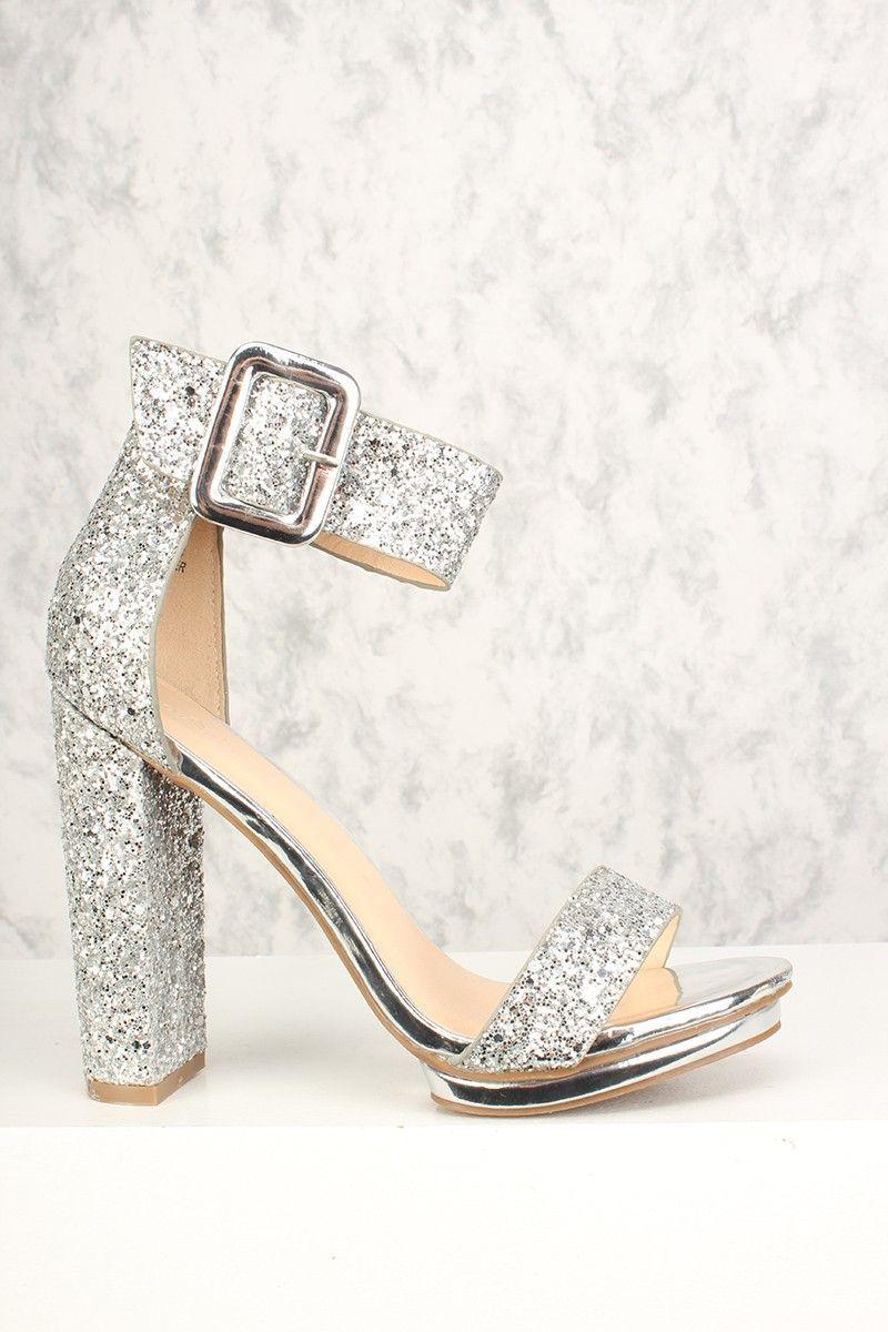 526b6807c0d Sexy Silver Chunky Heel Platform Pump Open Toe High Heels Glitter ...