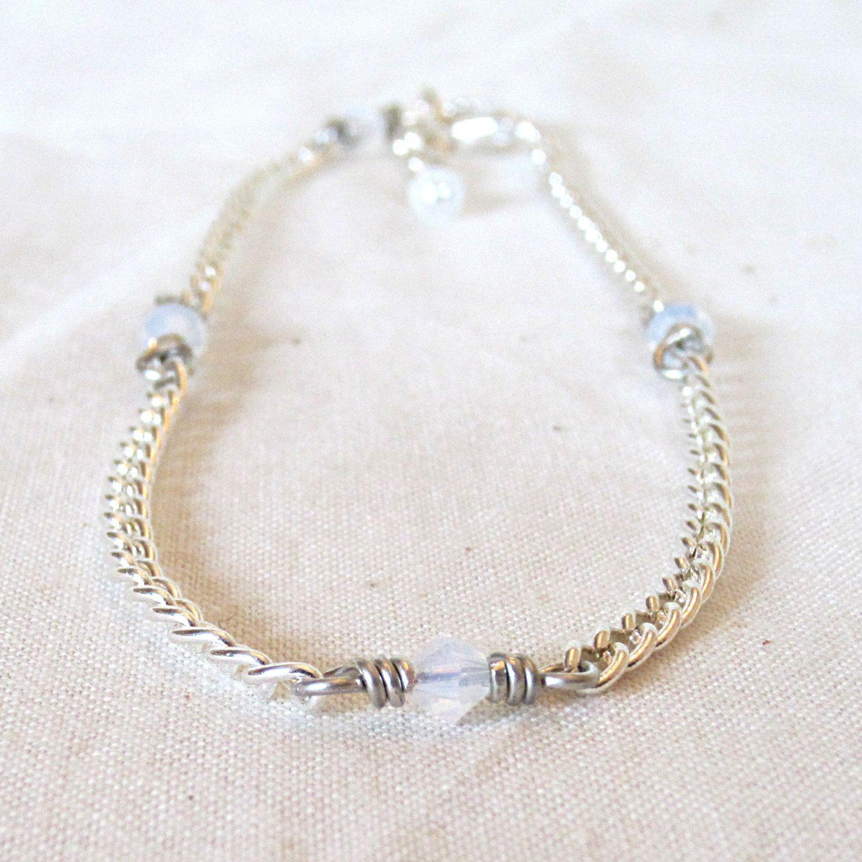 White Swarovski Crystal Anklet White Crystal Ankle Bracelet White