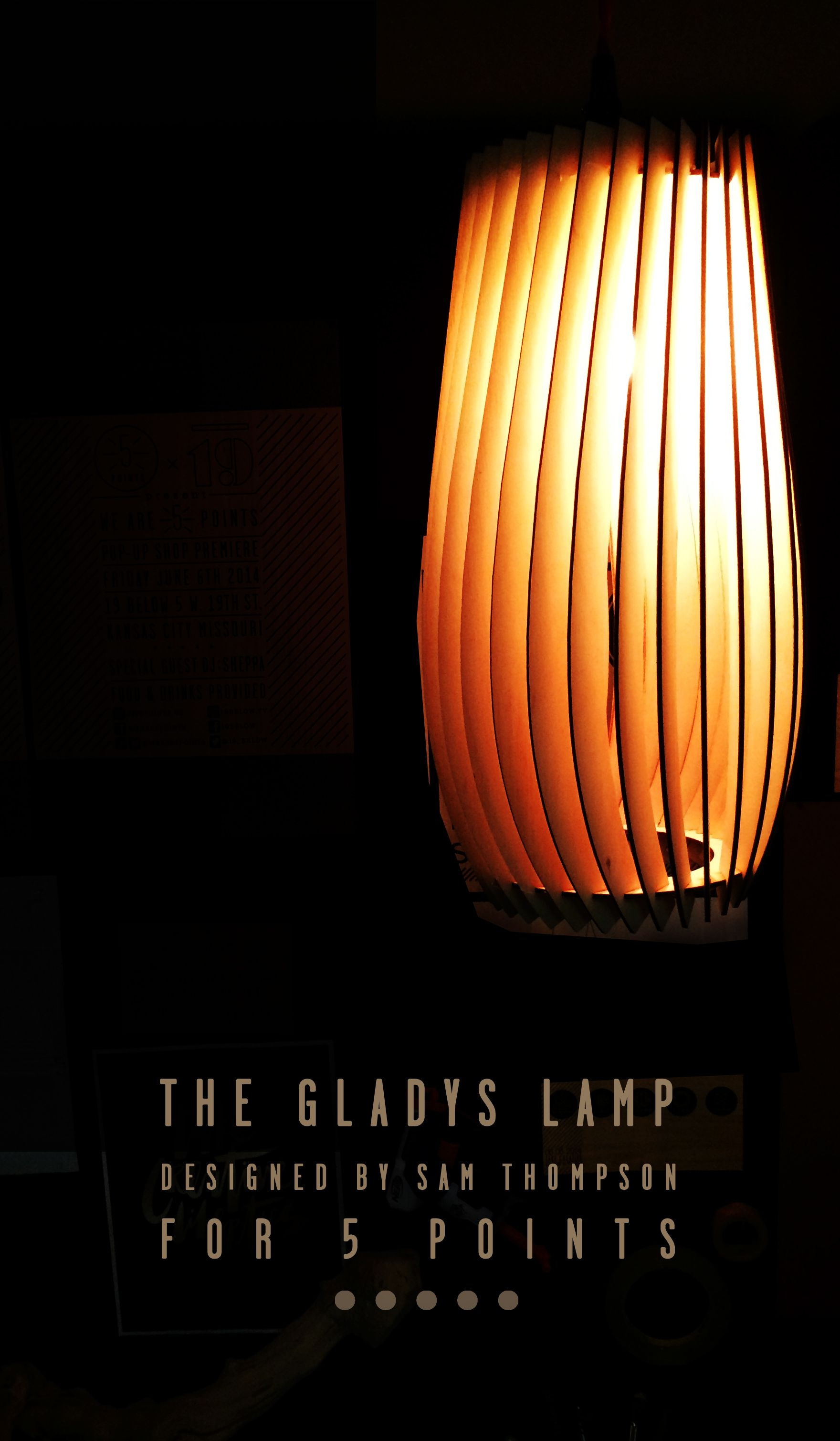 5 Points GLADYS Lamp laser cut from birch wood | Designed by Sam Thompson for 5 Points #lamp #wood #lasercut