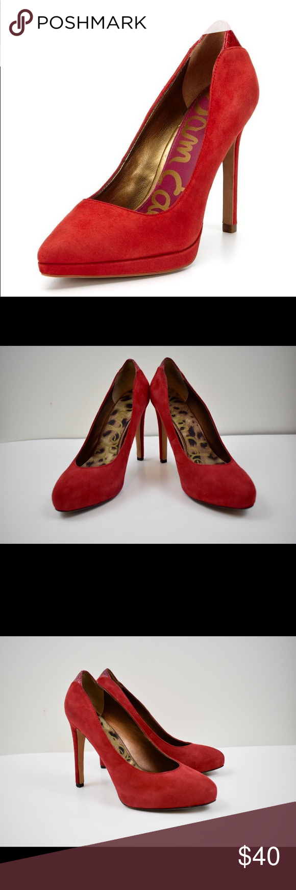 ee5b8a7fabbca3 Sam Edelman Celia Red Suede High Heels Size 6.5 Sexy red pumps. These Sam  Edelman
