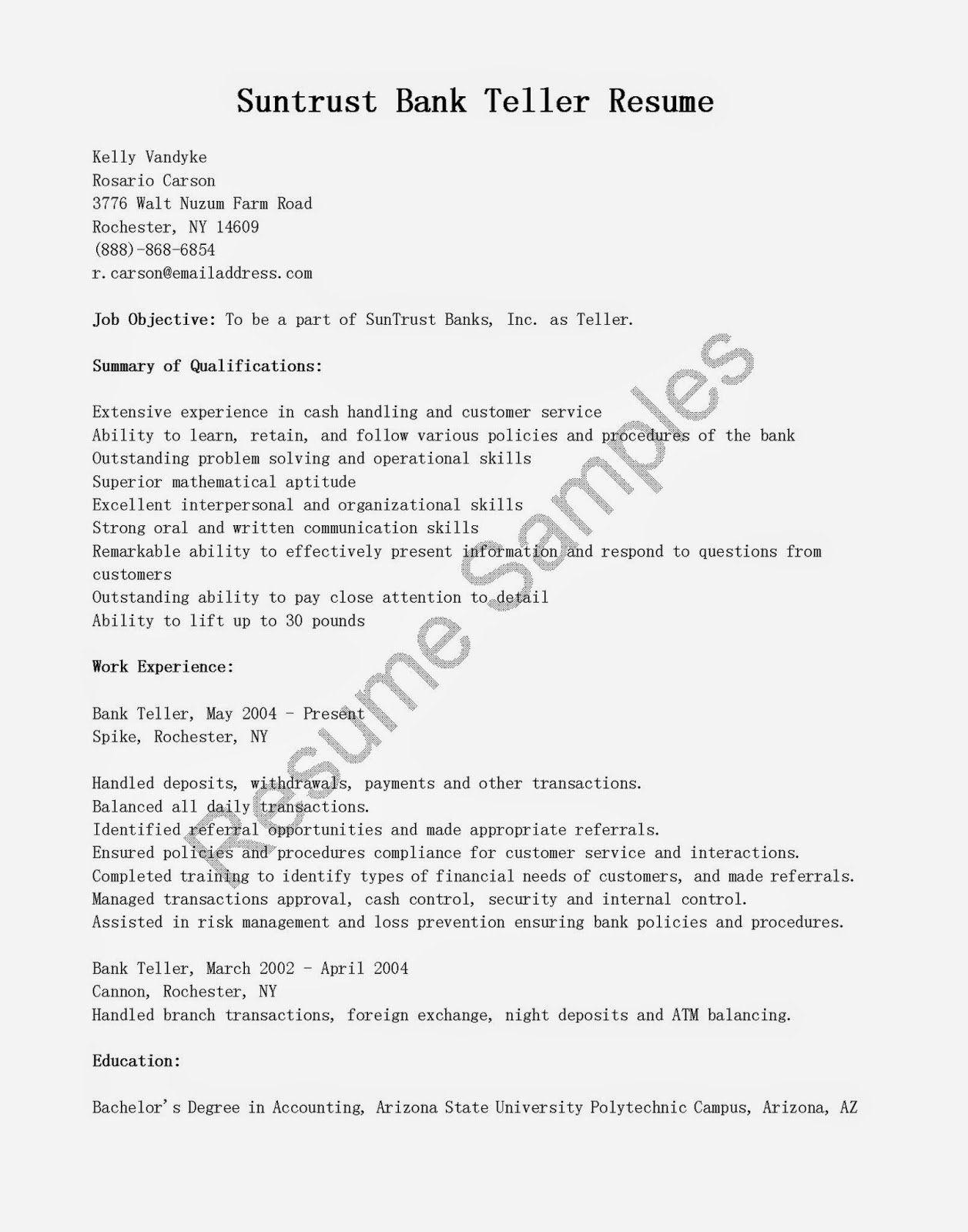 td bank teller resume sample