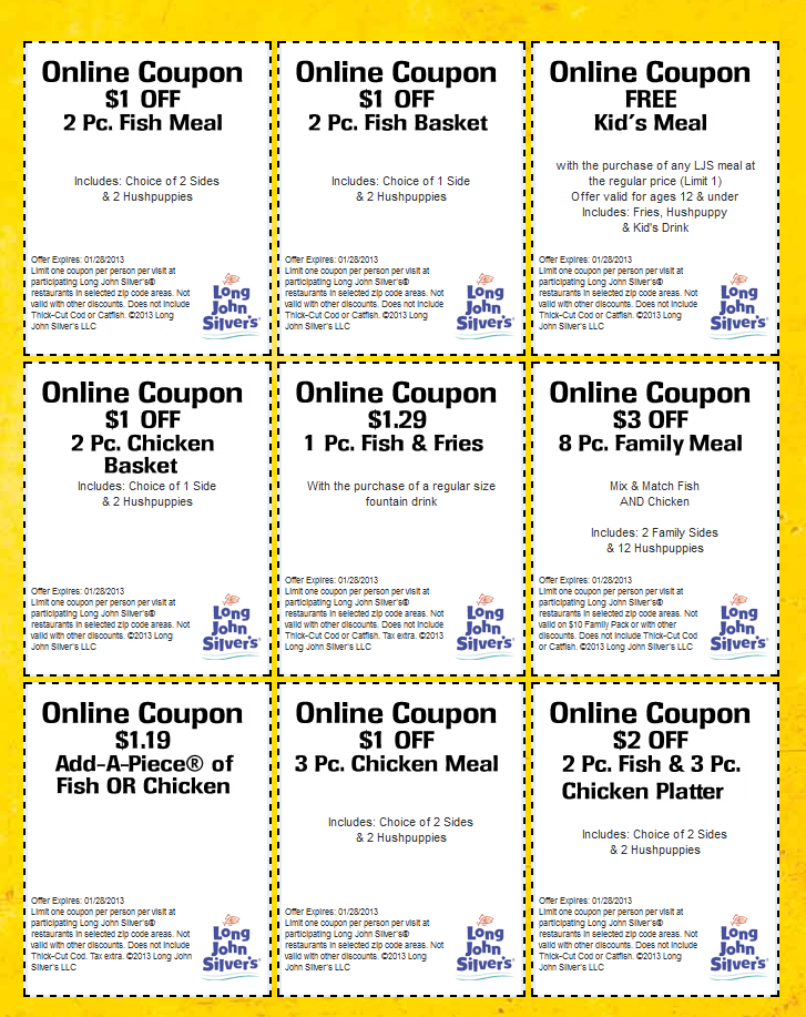 photograph relating to Long John Silver's Printable Coupons named Free of charge youngsters evening meal, buck or 2 off even further at Prolonged John Silvers