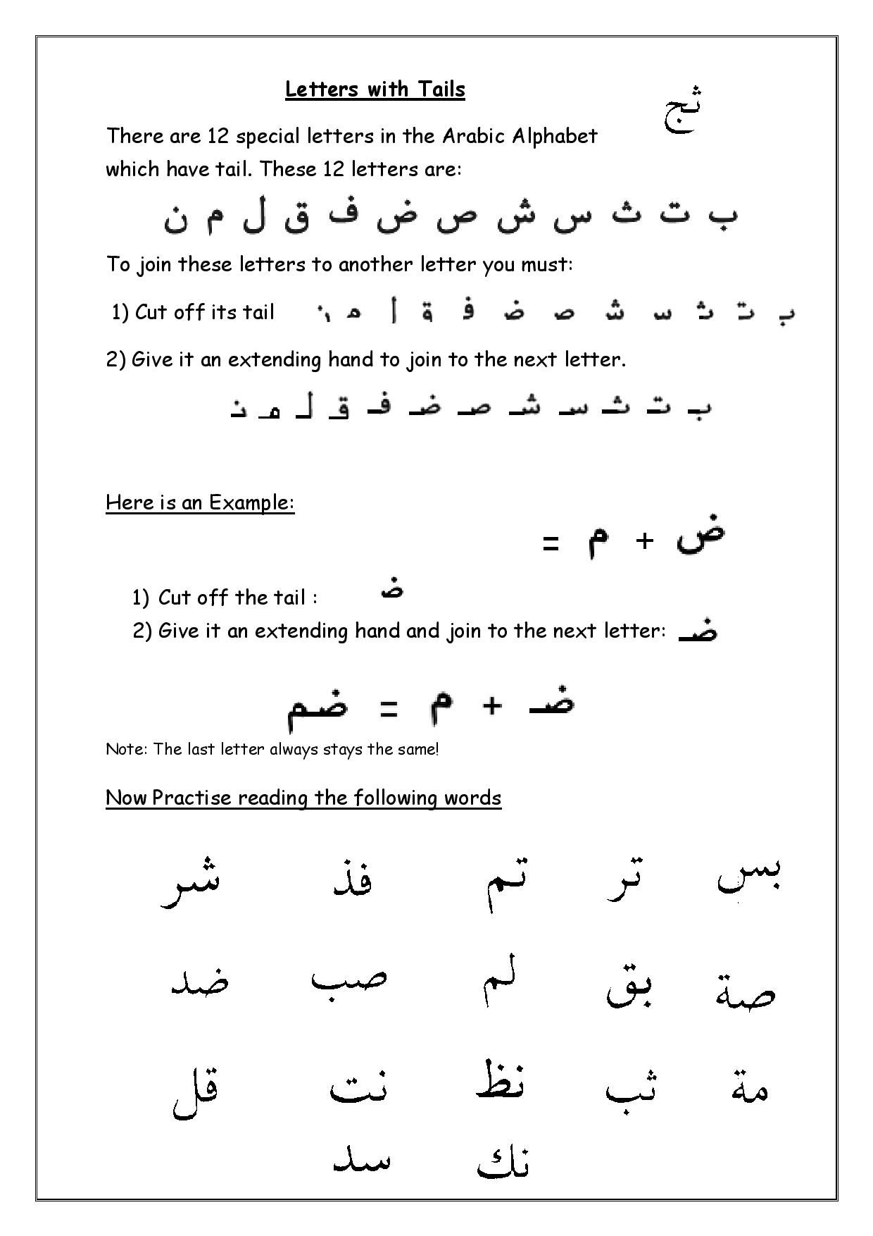 Arabic Grammar Revision Sheet At Abicadventures