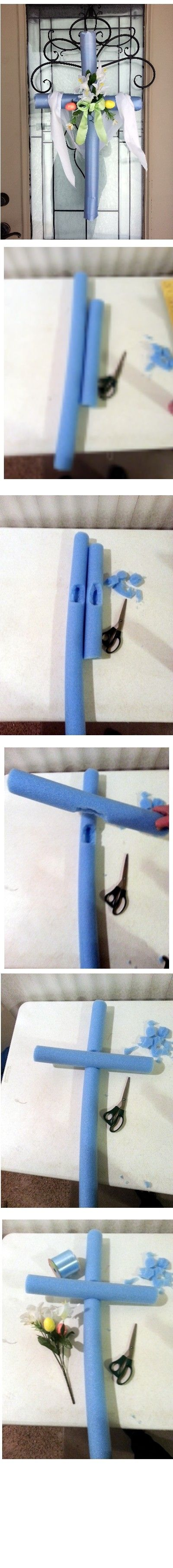 DIY Easter Cross... I'd cover the foam with yarn