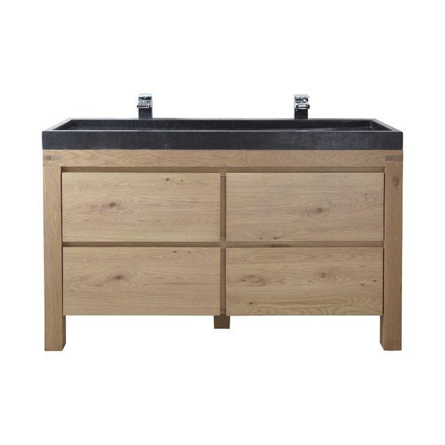 Meuble de salle de bains chêne 140 cm Harmon - CASTORAMA
