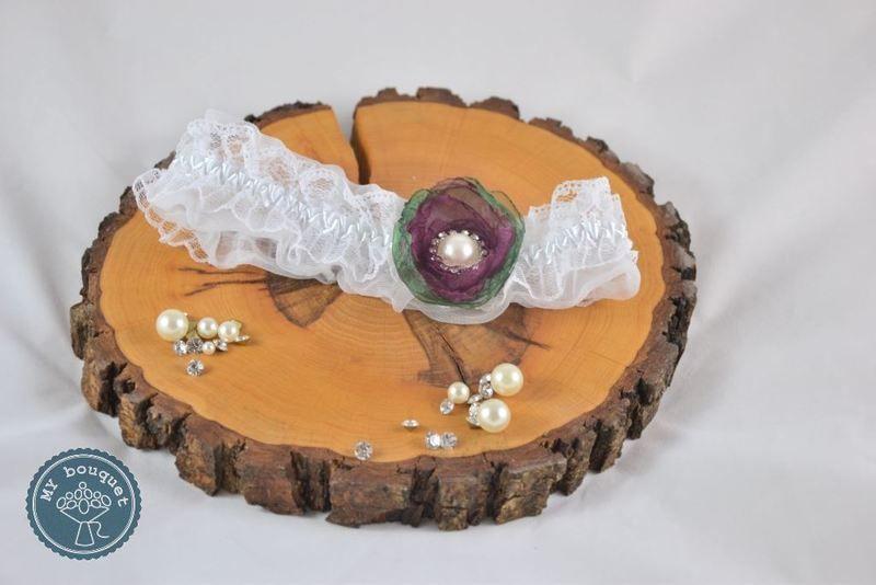 Strumpfband für Hochzeit beere-grün von MY bouquet auf DaWanda.com