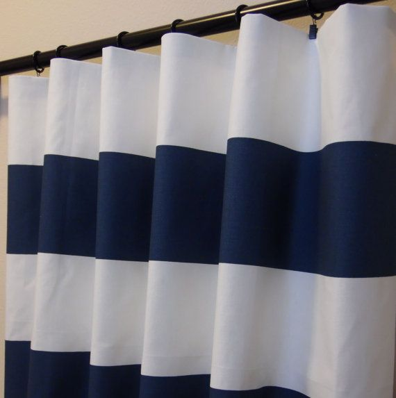 navy blue white cabana horizontal stripe curtains rod. Black Bedroom Furniture Sets. Home Design Ideas