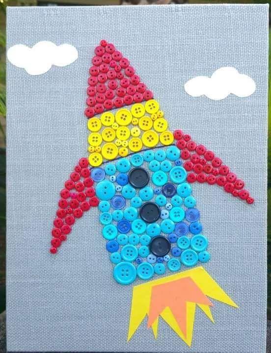 Button Space Craft Button Craft Ideas Button Art Buttons