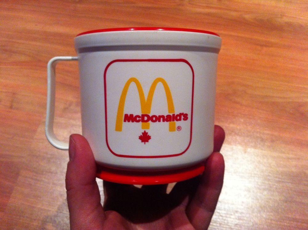 Rare Mcdonald S Canada Coffee Plastic Travel Mug Car Dash Holder Vintage Port A