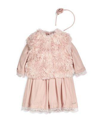 Faux-Fur+Vest,+Lace-Trim+A-Line+Dress+&+Tweed+Flower+Headband+by+Pili+Carrera+at+Neiman+Marcus.