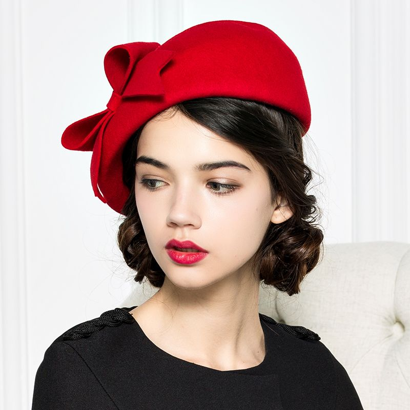 Brand Quality Classic Red Black Solid Bowler Beret Caps Wool Felt Winter  Women Hat Elegant Formal Church Hat Wedding Fedora Hat 42f198e236a