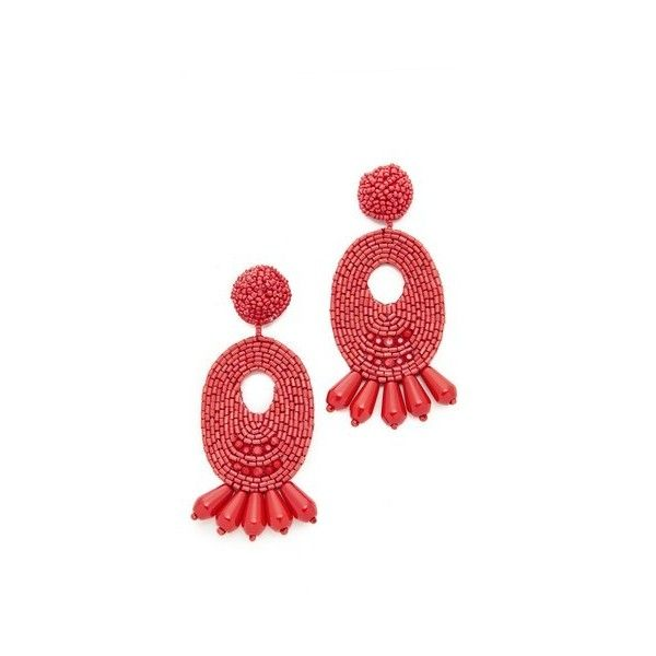 Kenneth Jay Lane Beaded Geometric Drop Earrings, Coral