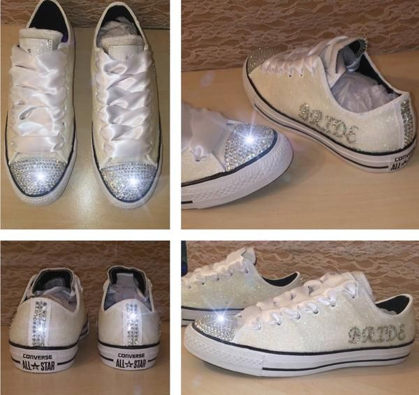 Sparkly White Glitter Bling Crystals Converse All Stars Bride Wedding Shoes Personalized