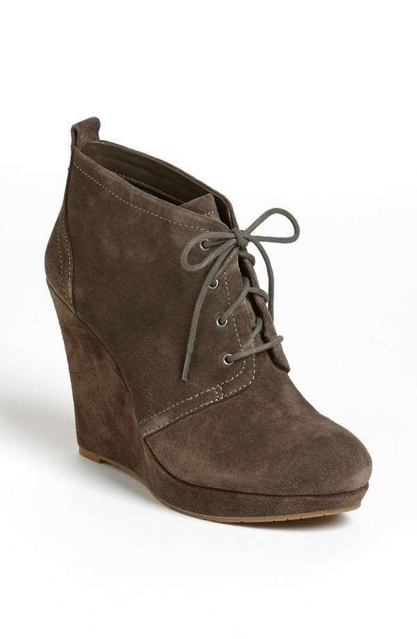 c807e0b02933 Trendy suede wedge bootie.