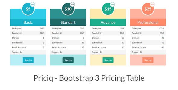 Priciq Bootstrap 3 Pricing Table Pricing Table Hosting Icon Web Template Design