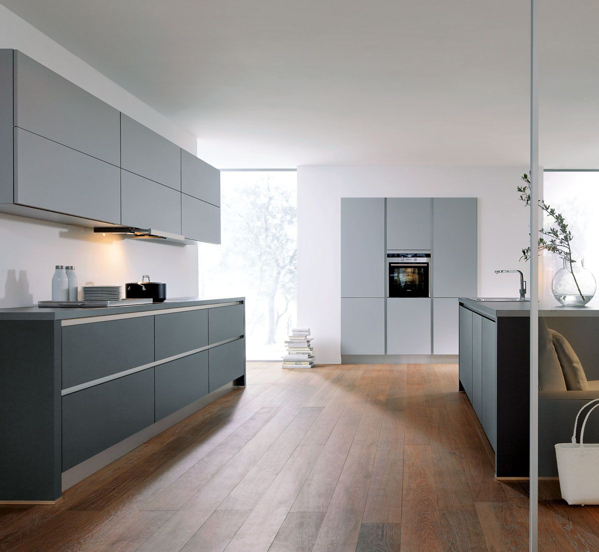 Grey kitchen modern kitchen london by lwk kitchens london - Lava Black And Stone Grey Matt Handleless Kitchen Design By Schmid Kitchens London