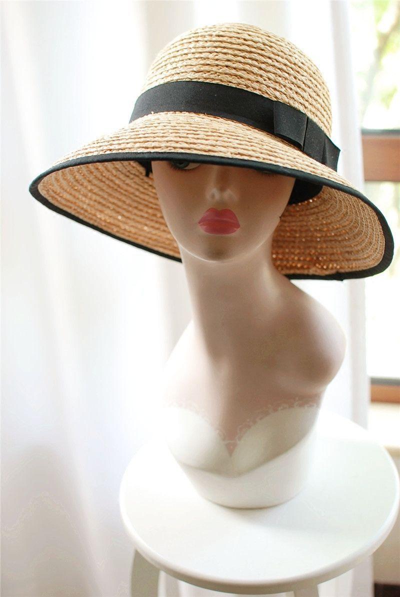 Womens vintage style Summer Wide Brim Beach Raffia Straw Sun Hat Y26 ... 02291569577a