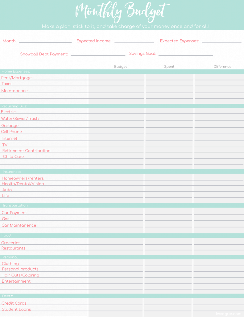 Printable Budget Worksheets 6 FREE Templates for