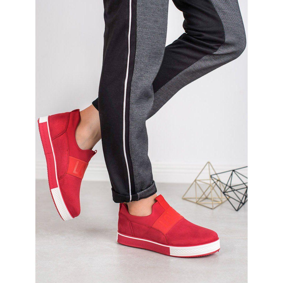 Shelovet Zamszowe Wsuwane Obuwie Czerwone Fashion Shoes Puma Sneaker