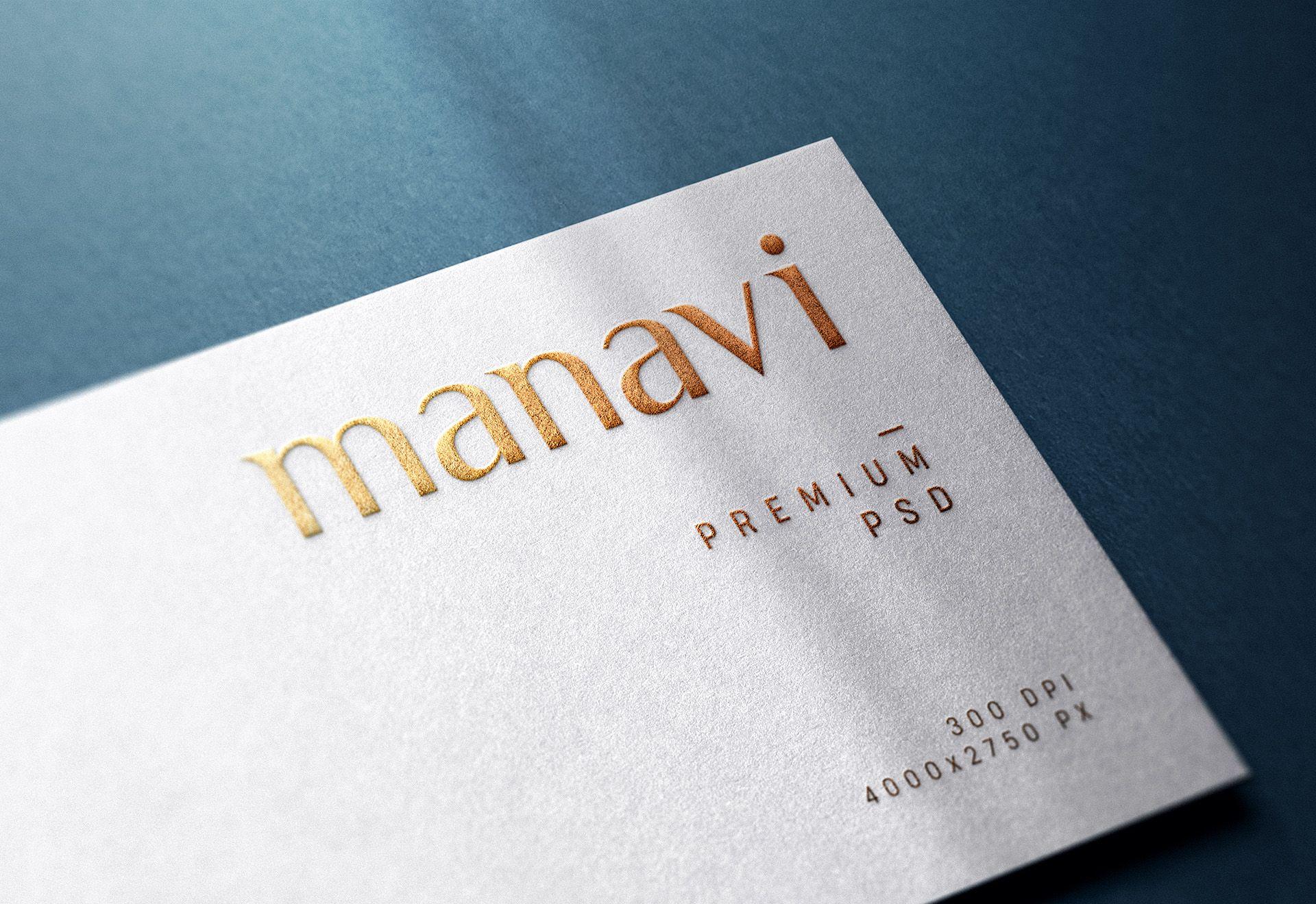 Embossed logo mockup on white business card in 2020 logo