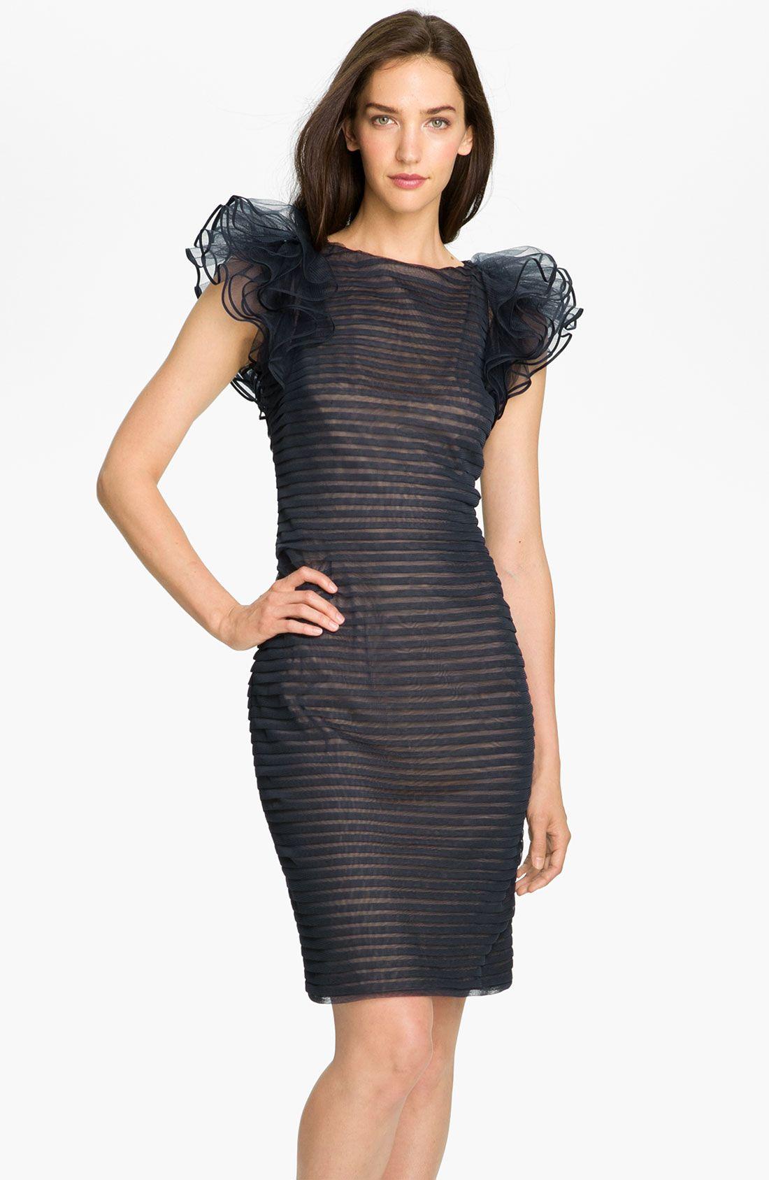 Little Black Dress With Fluffy Cap Sleeves Tadashi Shoji Dresses Mesh Dress Nordstrom Dresses [ 1687 x 1100 Pixel ]