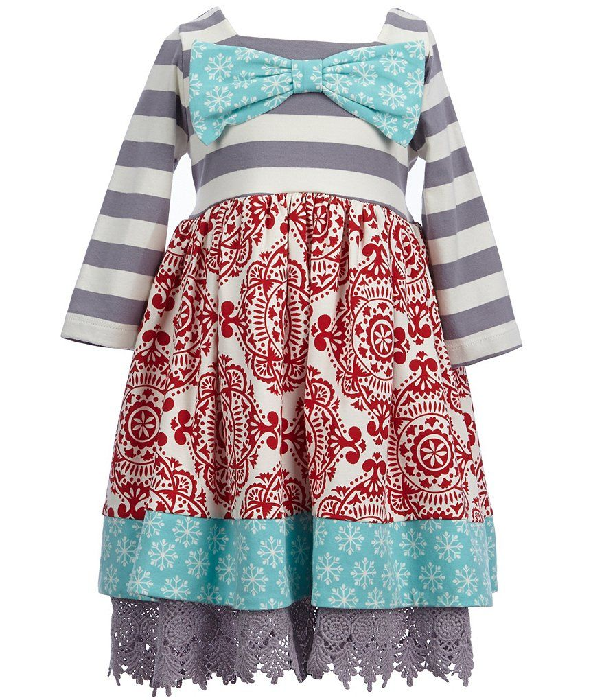 Counting Daisies Little Girls 2T-6X Mixed-Print Bow Dress | kid\'s ...