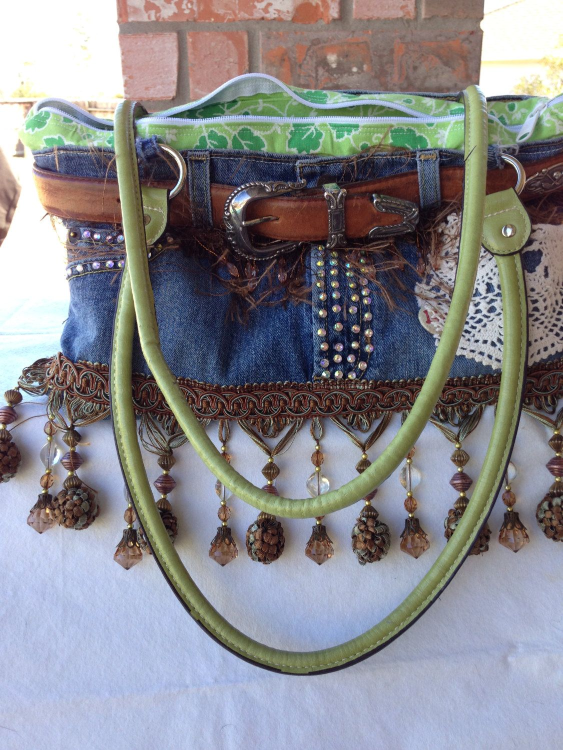 Denim Bag upcycled and repurposed denim.  by positivelybling, $50,00