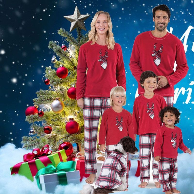 ea13a5b2fb 2018 Christmas Family Look Deer Mommy and Me Clothes Plaid Pants Matching  Family Clothing Set Mother Daughter Father Kid T-shirt