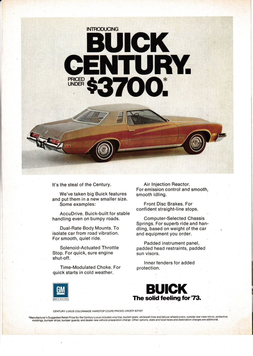 73 Buick Century : buick, century, Buick, Century, Colonnade, Hardtop, Coupe-Under, Century,, Buick,, Automobile, Advertising