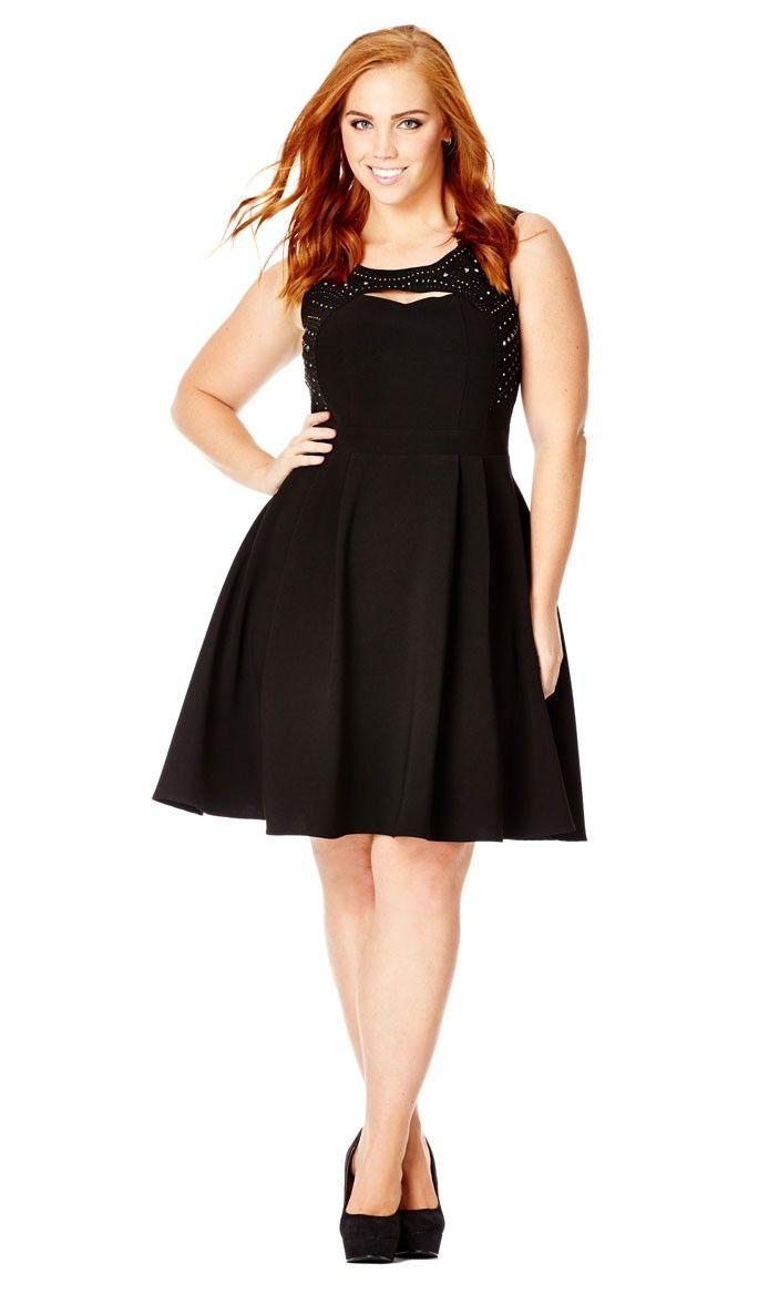 Plus size casual wedding dress  Plus Size Beaded Peek A Boo Dress  City Chic  Black Forest