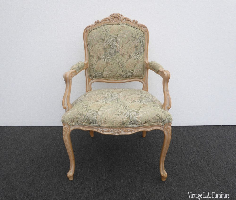 vintage french country white wash floral accent chair frenchcountry rh pinterest com