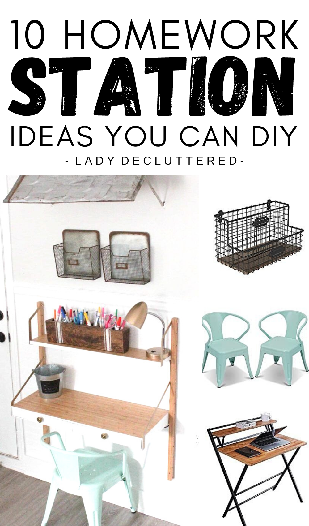10 Diy Homework Stations For Small Spaces Lady Decluttered Homework Station Diy Desk Organization Diy Diy Office Organization