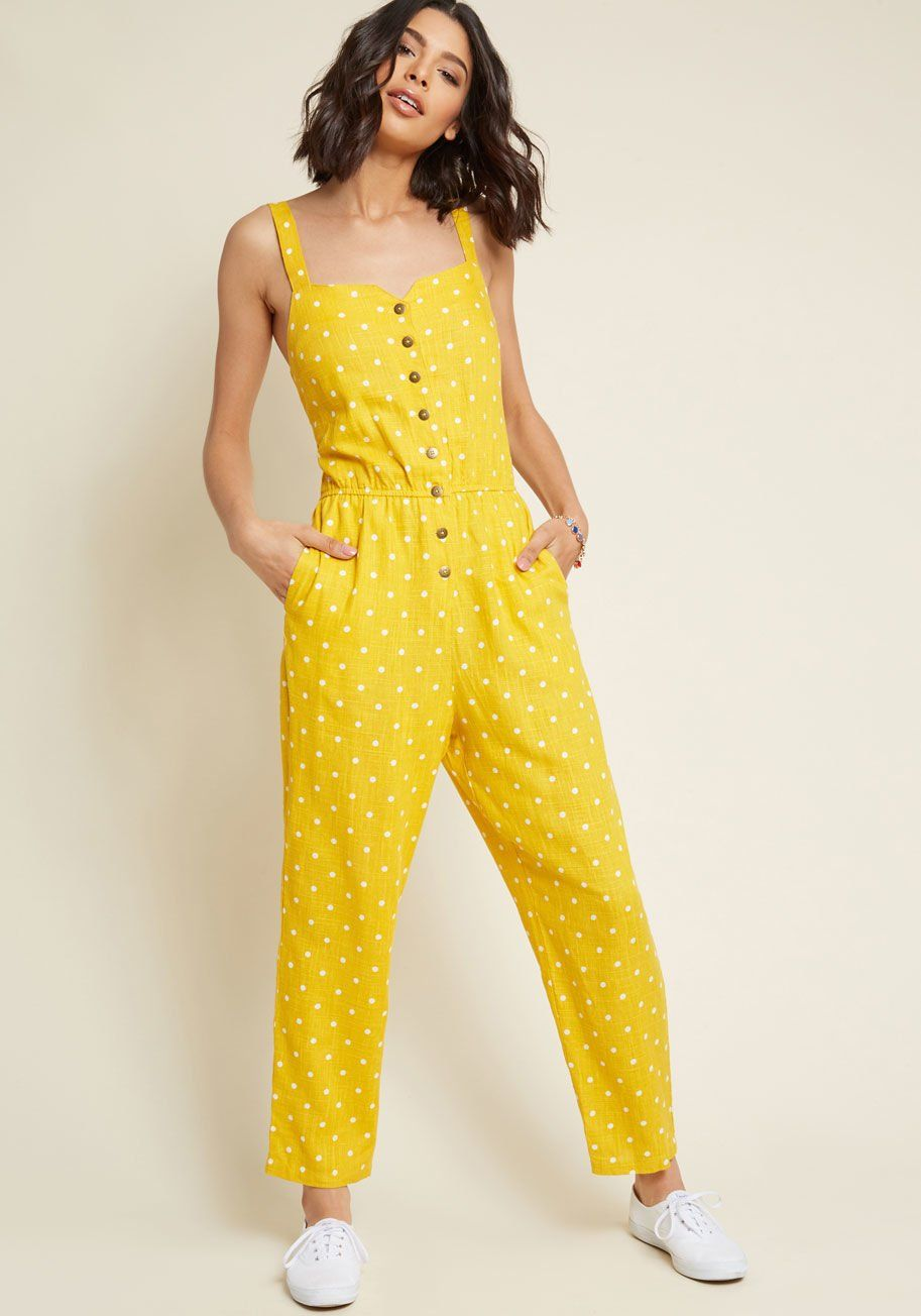 a9a2811b133f Every Waking Momentum Cotton-Linen Jumpsuit in Yellow Dotted - Once you re  buttoned into this polka dot jumpsuit