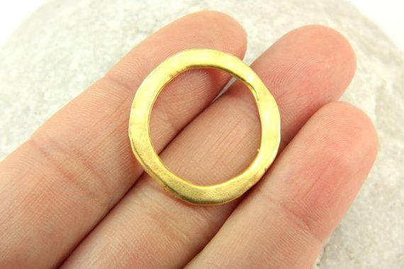 0578eca54fb1a 5 pcs Gold Circle Charms, (24mm x 2mm) Gold Circle Charms, 24k Matte ...