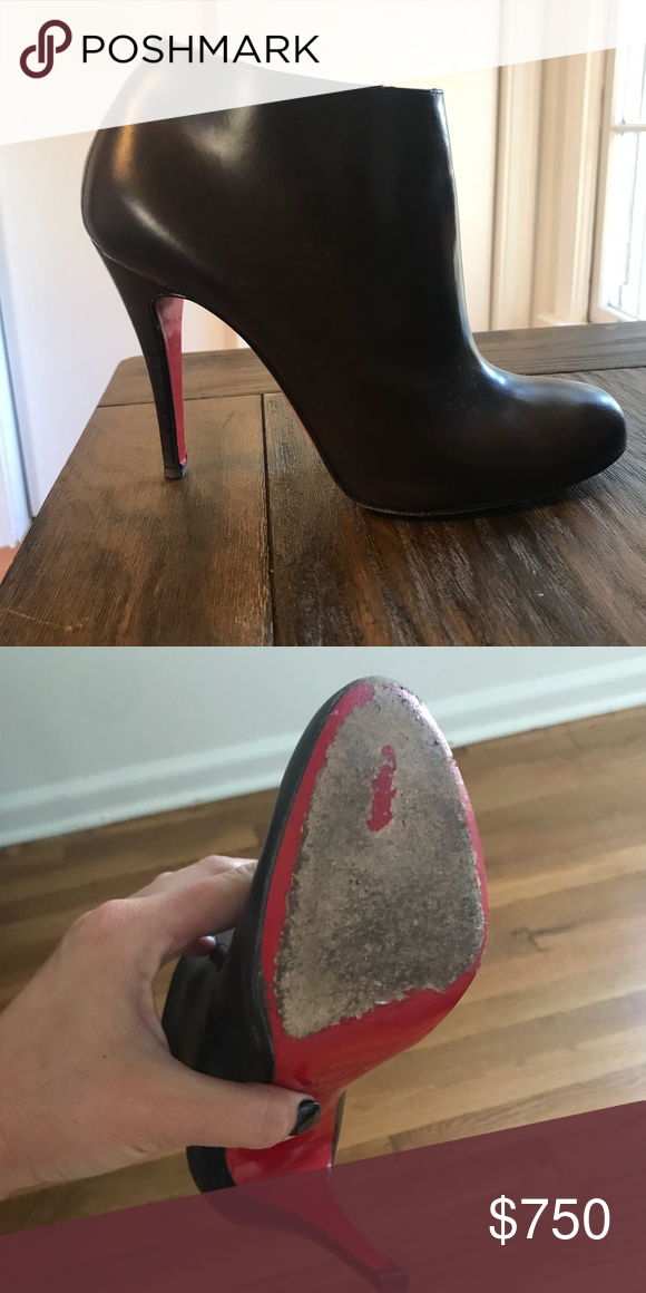 58f42064542e Christian Louboutin Belle Round Toe Bootie Dark Brown Size 8 Worn twice.  Too large for me. Christian Louboutin Shoes Ankle Boots   Booties